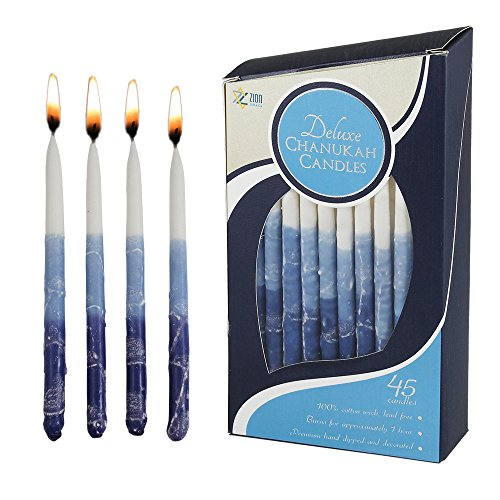 Zion Judaica Hanukkah Candles Hand Made Blue Elegance Deluxe 5.75