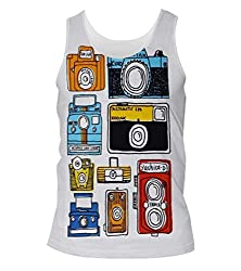 Snoogg Multi Camera Cartoon Mens Casual Beach Fitness Vests Tank Tops Sleeveless T shirts