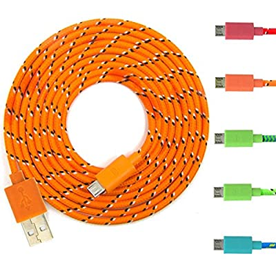 Eversame 5Pcs/Lot Multi-color 6 FEET 2M Ruggedized Fabric Braided Universal Micro USB 2.0 Sync Data Cable Charging Cord For Samsung Galaxy S6 G9209/S4/3/2 Note 1/2/4 Tab, HTC ONE S/X, HTC M8/M9, Nokia N9/Lumia 920/900, PDA X-BOX, Xbox One, Motorola X/ ATR