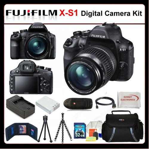 Fujifilm X-S1 Kit Includes: Fujifilm XS1 Digital Camera, Extended Life Battery+Charger, 32GB SDHC Memory Card + Reader, Memory Card Wallet, HDMI Cable, Gripster Tripod, Table Top Tripod, LCD Screen Protectors, Cleaning Kit, Soft carrying Case & More