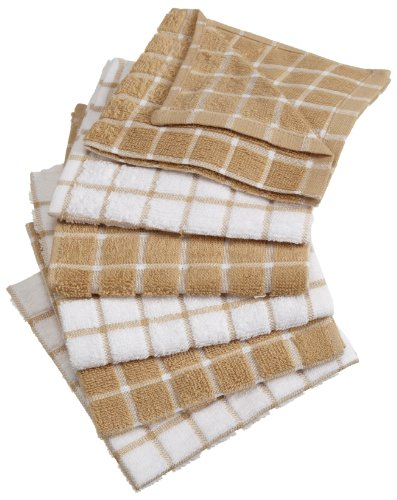 DII 100% Cotton, Machine Washable, Basic Everyday Kitchen Dish Cloth, Windowpane Design, 12 x 12