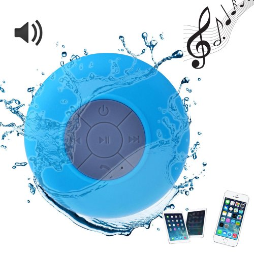Western-Waterproof Handsfree Bluetooth V3.0 Edr Speaker W/ Built-In Microphone For Apple Iphone 4 4S 5 5S 5C Samsung Htc Blackberry, Blue