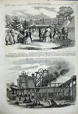 1858 Page Bank Colliery Pit Fire Towchester Flower Show from Old-print
