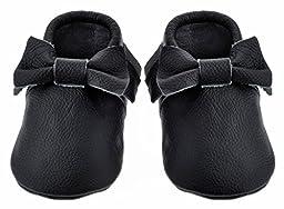 Sayoyo Black Bow Tassels Soft Sole Leather Infant Toddler Prewalker Shoes (6-12 months, Black)