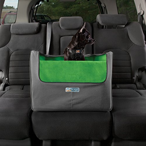 kurgo skybox rear dog booster seat for cars with seat belt tether grass green charcoal dog. Black Bedroom Furniture Sets. Home Design Ideas