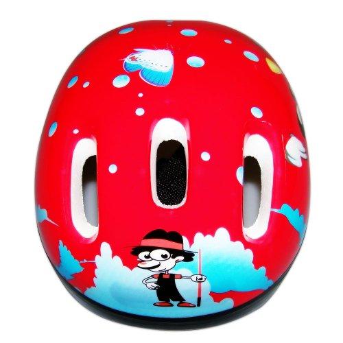 KY-016 Kinder Fahrradhelm Kinderhelm Kinder Skihelm Kinderskihelm Süße Motive (Rot Schmetterling)