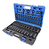 Kobalt 55-Piece 1/2-in Drive Standard (SAE) And Metric Combination 6-point Impact Socket Set with Case (Color: Black)