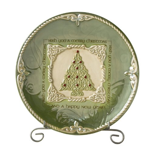 Grasslands Road Celtic 8-1/2-Inch Christmas Tree Irish Blessing Dessert Plate with Stand