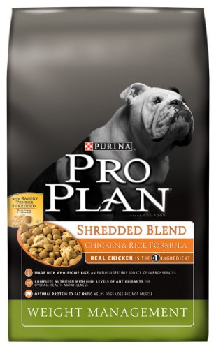 Purina Pro Plan Dry Dog Food, Shredded Blend Weight Management Chicken and Rice Formula, 18-Pound Bag