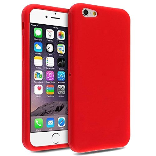 Semoss Protective Silicone Rubber Case Gel Cover for iPhone 7 Plus Durable Soft Back Bumper Skin Cover - Red