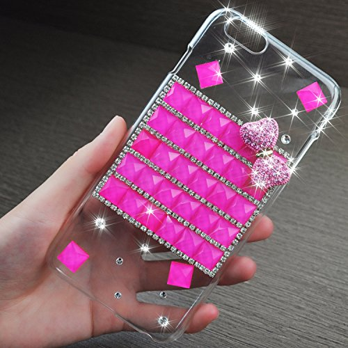 iPhone 6 Plus Case, JCmax New Design Lovely Bling Crystal Diamond Jewel Hard Back PC Protective Case [Scratch Resistant] [Perfect Fit] For Apple iPhone 6 Plus 5.5 inch -Hot Pink
