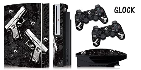 Protective skins for FAT Playstation 3 System Console, PS3 Controller skin included - GLOCK BLACK