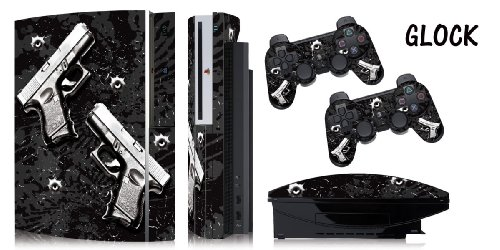 Protective skins for FAT Playstation 3 System Console PS3 Controller skin included - GLOCK BLACK