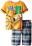Kids Headquarters Little Boys Crew Neck Tee With Plaid Shorts