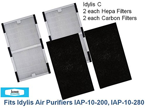 2-PACK Idylis C HEPA Air Purifier Filter PLUS 2-PACK CARBON Filters for IAP-10-200, IAP-10-280 by Home Revolution (Air Purifier Filter Idylis compare prices)