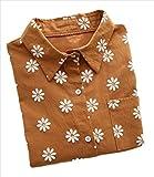 (ロンショップ)R.O.N shop 花柄 長袖 ブラウス シャツ カジュアル フラワー デザイン 秋 春 (ブラウン、S)