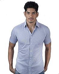 Mavango Trendy Blue Striped City Slim Fit Men's Casual Cotton Shirt