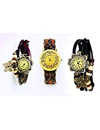 COSMIC BROWNISH STRAP WITH ORANGE SHADE LEATHER WOMEN WATCH WITH FREE BLACK AND BROWN BRACELET WATCH- SET OF 3...