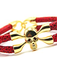 Hot And Bold Exquisite Gold Plated Leather Skull Charm Adjustable Bangles & Bracelets For Women & Men. Free Size...