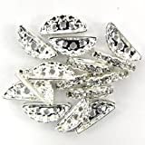 15 19mm silver plated rhinestone spacer bar beads