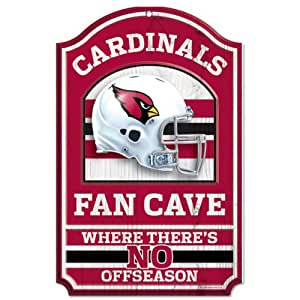 NFL Arizona Cardinals 11-by-17 inch Fan Cave No Offseason Wood Sign