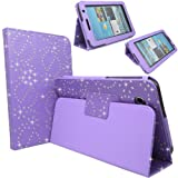 GLITZY GIZMOS LILAC DIAMOND BLING SPARKLY CRYSTAL PU LEATHER MAGNETIC FLIP CASE COVER STAND SKIN FOR SAMSUNG GALAXY TAB 3 P3200 / P3210 / SM-T210 / SM-T211 / SM-T215 (LTE) WIFI 7