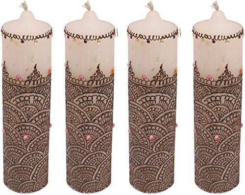 "Craftandcreations Set Of 10 Wax Henna Art Work Candles (8.5""x2"", White)"
