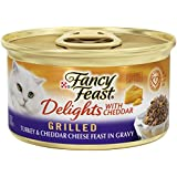Fancy Feast Wet Cat Food, Delights with Cheddar, Grilled Turkey & Cheddar Cheese Feast in Gravy, 3-Ounce Can, Pack of 24