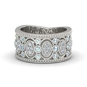 palladium vintage style wedding ring with