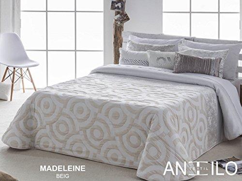 Textilhome - Colcha Bouti MADELEINE - Cama 135 cm. Color Beige