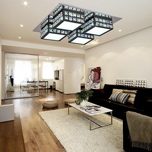 OOFAY LIGHT® Lampada da soffitto a LED di cristallo moderno,semplice ed elegante con 4 teste da salone Lampada da soffitto a LED di PMMA da camera da letto (nera)
