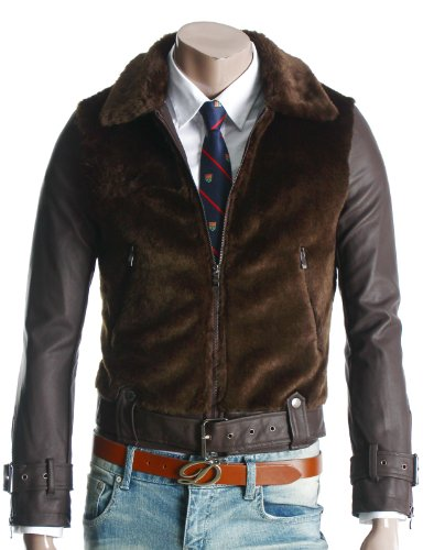Mens Casual Belted Leather Fur Jacket BROWN (GA13)