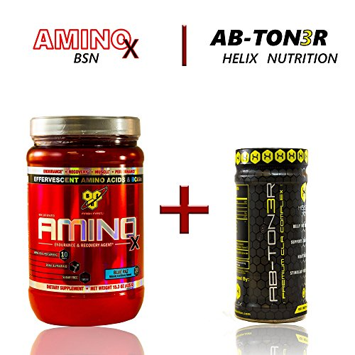 BSN AMINO X - Blue Raz 30 Servings + Ab-ton3r: A Stimulant-free Metabolic Activating Formula Designed to Help Target Abdominal Fat, Tighten Mid-section, (Amino Energy Grape 70 Servings compare prices)