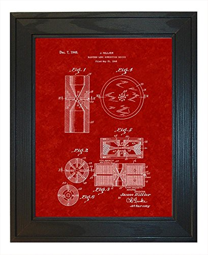 "Electron Lens Correction Device Patent Art Burgundy Red Print in a Solid Pine Wood Frame (24"" x 36"")"