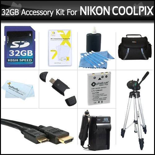 32GB Accessory Kit For Nikon COOLPIX P100 P500 P510 P520 P530 Digital Camera Includes 32GB High Speed SD Memory Card + Extended (1100 Mah) Replacement Nikon EN-EL5 Battery + AC/DC Charger + USB Card Reader + Case + Mini HDMI Cable + Tripod w/ Case + More