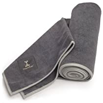 "YogaRat Charcoal-Ash 100% Microfiber HOT YOGA TOWELS - Available separately in two sizes: Mat Length (25"" x 72"") and Hand Size (16"" x 25"")"