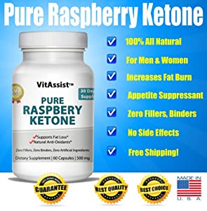 VitAssist Pure Raspberry Ketones 1,000mg Daily Advanced Weight Loss Daily Supplement, 500mg Vegetarian Capsules, The Best Fat-Burner & Healthy Trim Diet Pill, Contains Fresh Lean Organic Extract, Formulation As Recommended By Dr. Oz, Now All Natural Max-T