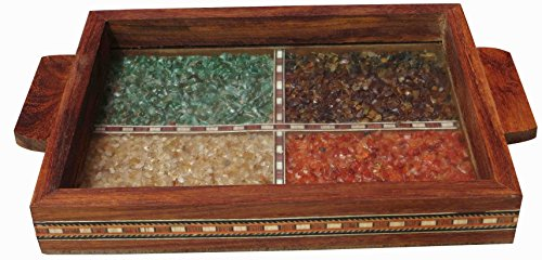 Serving Tray Made with Decorative Crushed Gem Stones in Design of Four Squares, Must for Home & Dining Purpose
