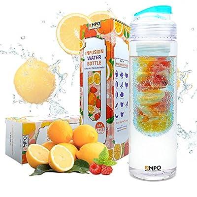 [BPA Freies Tritan] EMPO® Wasserflasche mit Fruchtbehälter mit kostenlosem Rezepte eBook (Multi- Größe, Mehrfarbigen) - LEBENSLANGE GARANTIE