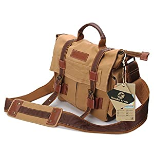 Koolertron DSLR SLR Camera Canvas Shoulder Bag for Sony Canon Nikon Olympus BBK2 28x25x12cm Small Size With Shakeproof Inner Camera Case