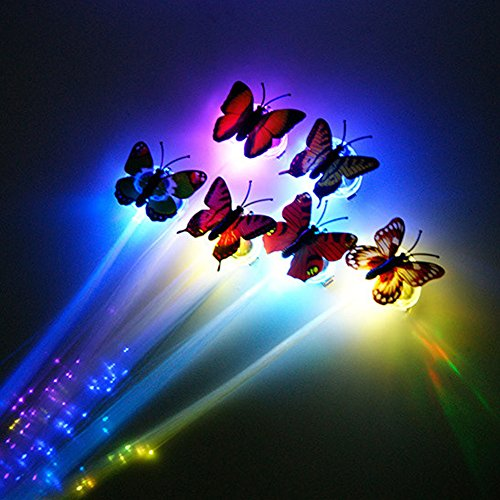 Ckeyin ® Butterfly LED Fiber Optic Lights up Flashing Hair Alternating Multicolor Flash Barrettes Clip braids - Party Diba, Send teams, Christmas, Weddings, Halloween, New Year's Supplies 10 PCS (Blue Fiber Optic Hair Lights compare prices)