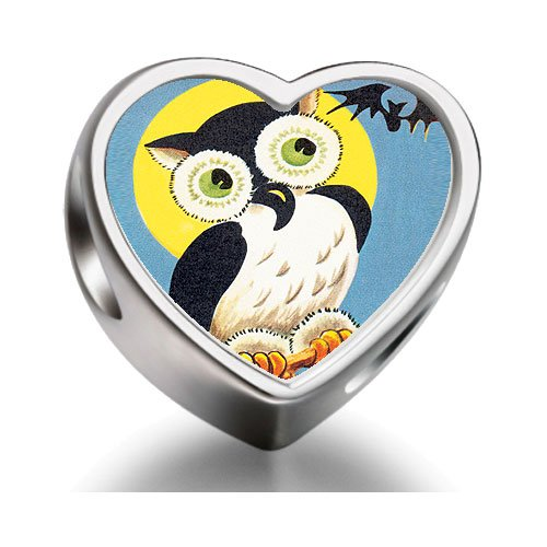 Soufeel Retro-Eule Halloween bat Heart Photo Charm Beads