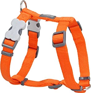 Red Dingo Plain Orange Dog Harness 12mm x (Neck: 25-39cm / Body 30-44cm)