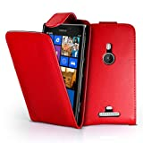 AIO Leather Flip Case Cover/Screen Protector/Stylus for Nokia Lumia 925 - Red