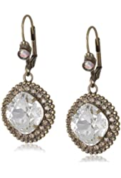 """Sorrelli """"Stardust"""" Crystal Edged Clear and Light Gold Cushion Cut French Wire Drop Earrings"""