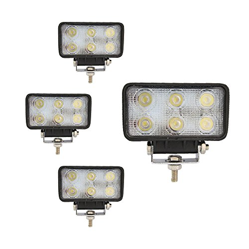 18W 4inch LED Work Light Square Fog Lamp for Off-road Driving Truck 12V/24V (4pcs Spot)