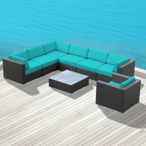 Luxxella Outdoor Patio Wicker DUXBURY Turquoise Sofa Sectional Furniture 8pc All Weather Couch Set photo