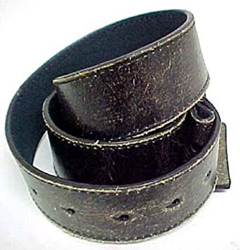 Vintage Look Distressed Black Leather Strap Belt Snap Size: X-Large 39-42 inches