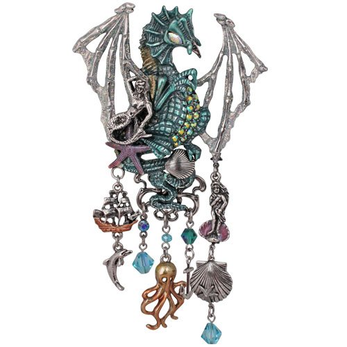 Kirks Folly Draco Dragon Ocean Pin Pendant Enhancer