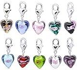 HooAMI 20PC Glass Heart Clip On Charm Fit Link Bracelet